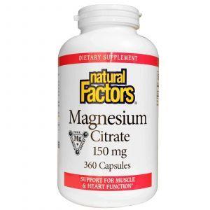 Цитрат магния, Natural Factors, 150 мг, 360 капсул