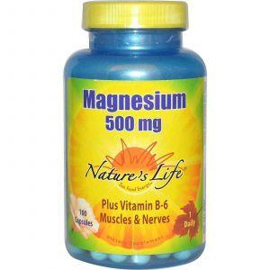 Магний и витамин В-6, Nature's Life, 500 мг, 100 капсул