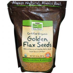 Органические золотые семена льна, Now Foods, 907 г