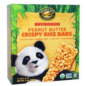 Батончики с арахисовым маслом, Crispy Rice Cereal Bars, Nature's Path, 6 шт по 28 г