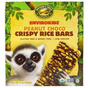 Батончики со вкусом арахиса и шоколада, Crispy Rice Cereal Bars, Nature's Path, 6 шт по 28 г
