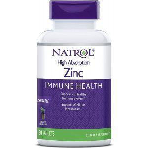 Цинк с высокой степенью поглощения, натуральный ананасовый вкус, High Absorption Zinc, Natrol, 60 жевательных таблеток