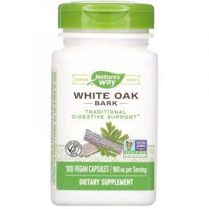 Кора белого дуба, White Oak Bark, Nature's Way, 960 мг, 100 капсул