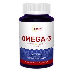 Омега-3, рыбий жир, Omega-3 Active Powerful, Sunny Caps, 1000 мг, 100 гелевых капсул