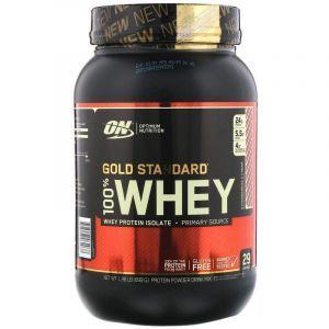 Сывороточный протеин, Gold Standard 100% Whey, Optimum Nutrition, клубника и сливки, 899 г