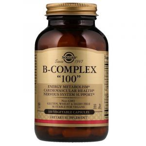 "Витамин В-100 комплекс, B-Complex ""100"", Solgar, 100 капсул"