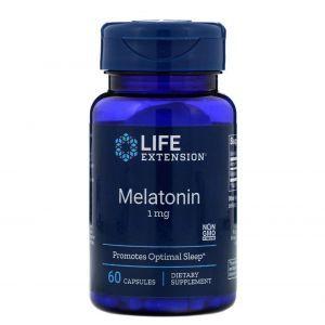 Мелатонин, Melatonin, Life Extension, 1 мг, 60 капсул