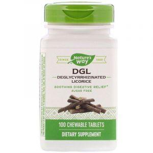 Корень солодки (DGL, Deglycyrrhizinated Licorice), Nature's Way, 100 таблеток