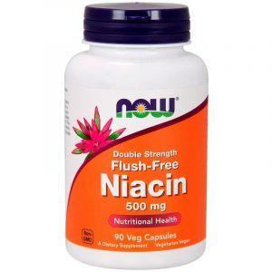 Витамин В3 ниацин, Flush-Free Niacin, Now Foods, 500 мг, 90 кап.