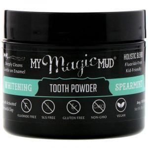 Отбеливающий зубной порошок, Whitening Tooth Powder, My Magic Mud, мята колючая, 30 г