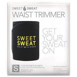 Пояс для похудения, Sweet Sweat Waist Trimmer Belt, Sports Research, размер S, цвет черный и желтый, 1 шт