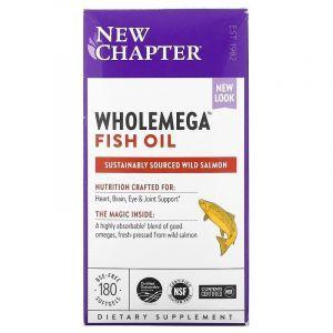 Жир аляскинского лосося, Alaskan Salmon Oil, New Chapter, 1000 мг, 180 капсул