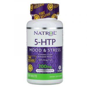 5-HTP 5-гидрокси L-триптофан TR, Natrol, замедленного высвобождения, 200 мг, 30 таб.