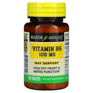 Витамин B6, Vitamin B6, Mason Natural, 100 мг, 100 таблеток