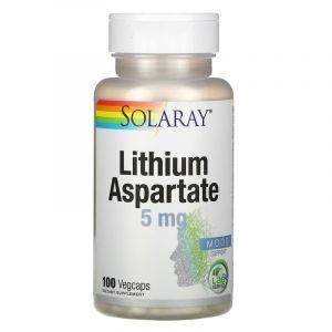 Литий, Lithium Aspartate, Solaray, 5 мг, 100 капс.