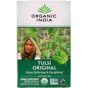 Чай Тулси с базиликом, Tulsi Holy Basil Tea, Organic India, 18 чайных пакетиков, 32,4 г