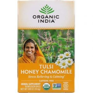 Чай тулси с базиликом, медом и ромашкой, Tulsi Holy Basil Tea, Organic India, 18 чайных пакетиков, 30,6 г
