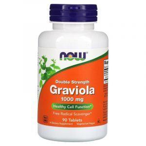 Гравиола, Graviola, Double Strength, Now Foods, 1000 мг, 90 таблеток
