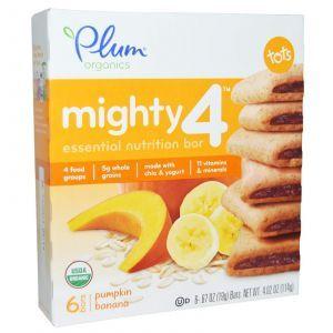 Печенье для детей, Mighty 4, Essential Nutrition Bar, Plum Organics, 6 пак.