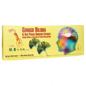 Экстракт гинкго билоба и красного женьшеня, Ginkgo Biloba, Prince of Peace, 30 бутылочек по 10 мл в каждой