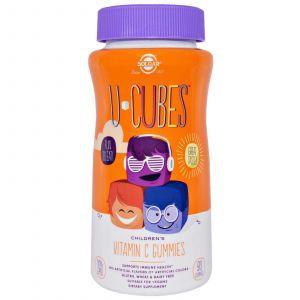 Витамин С жевательный, (U-Cubes, Children's Vitamin C ), Solgar, 90 жевательных конфет