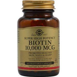 Биотин, Biotin, Super High Potency, Solgar, 10000 мкг, 60 капсул