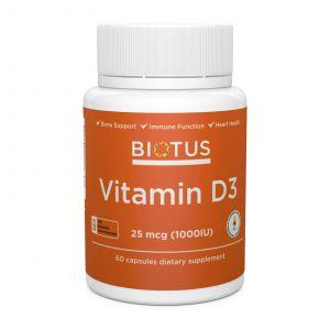 Витамин Д3, Vitamin D3, Biotus, 1000 МЕ, 60 капсул