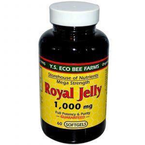 Маточное молочко, Y.S. Eco Bee Farms, 1000 мг, 60 кап