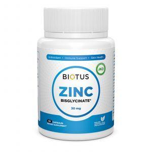 Цинк бисглицинат, Zinc Bisglycinate, Biotus, 30 мг, 60 капсул